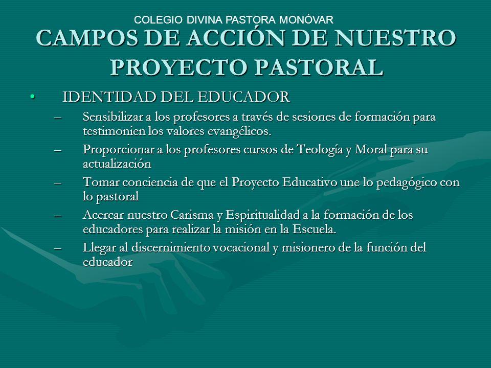 CAMPOS DE ACCIÓN DE NUESTRO PROYECTO PASTORAL