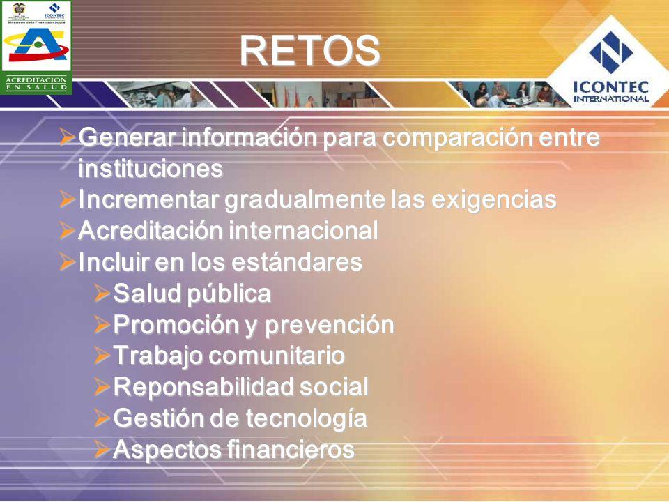 RETOS Generar información para comparación entre instituciones
