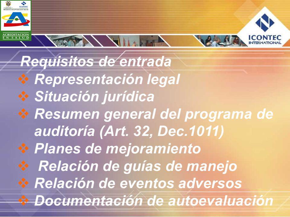 Requisitos de entrada Representación legal. Situación jurídica. Resumen general del programa de auditoría (Art. 32, Dec.1011)