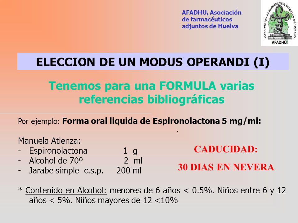 ELECCION DE UN MODUS OPERANDI (I)