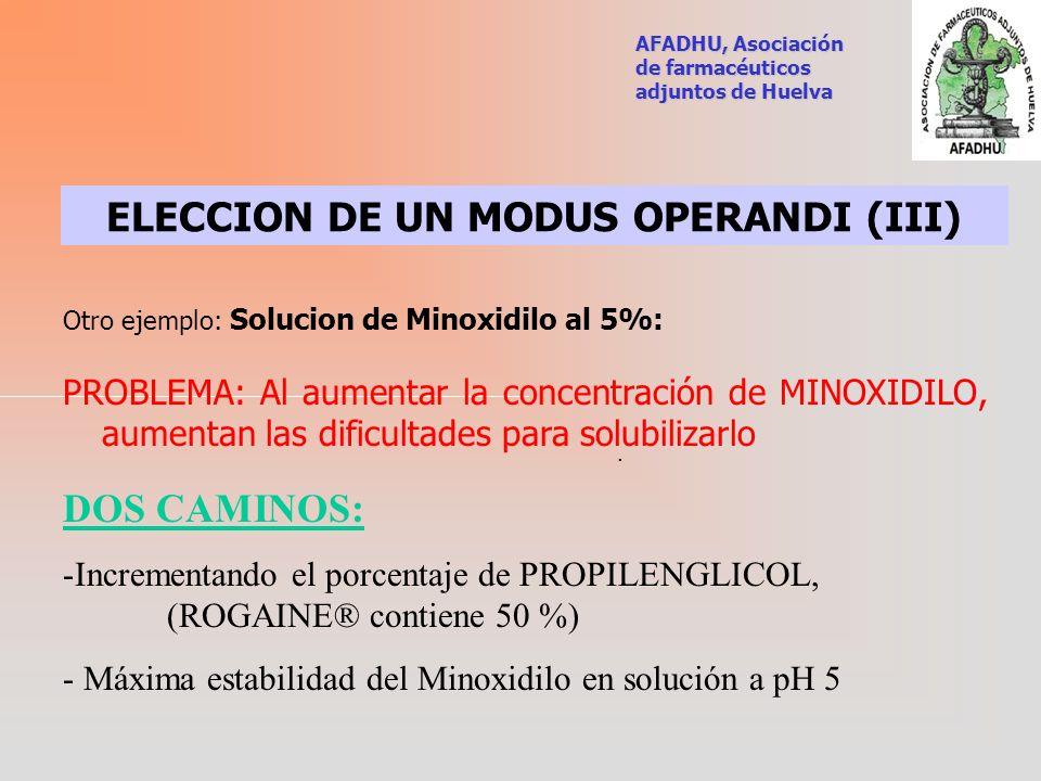 ELECCION DE UN MODUS OPERANDI (III)