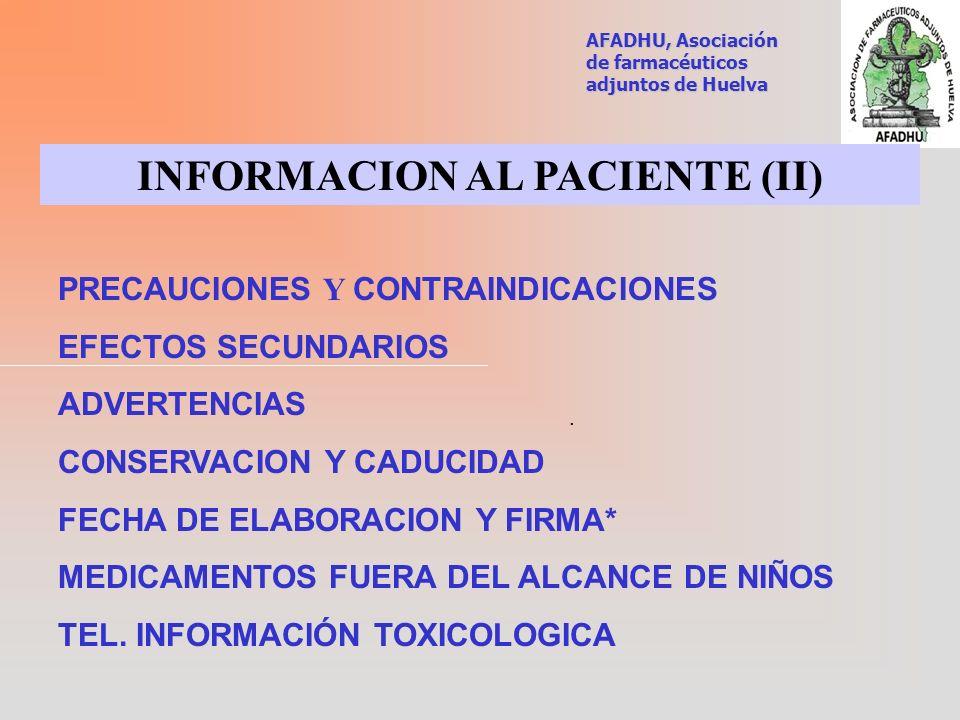 INFORMACION AL PACIENTE (II)