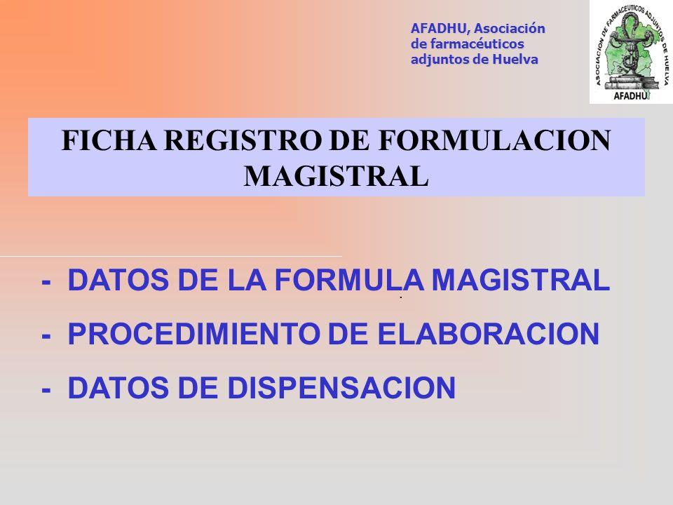FICHA REGISTRO DE FORMULACION MAGISTRAL