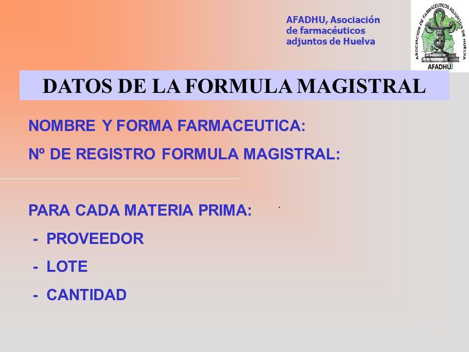 DATOS DE LA FORMULA MAGISTRAL