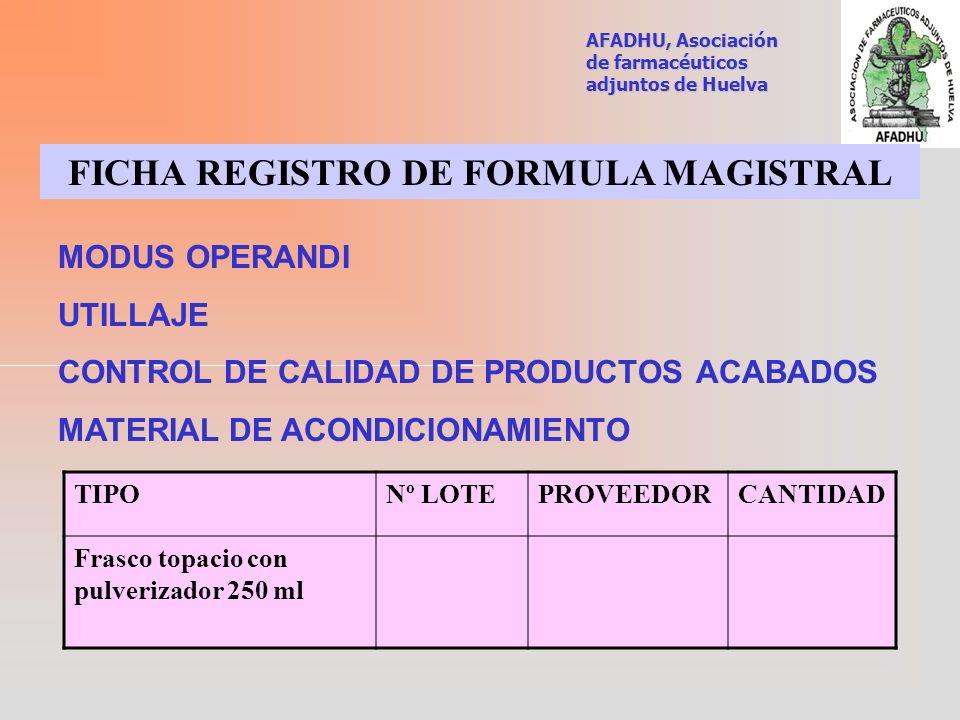 FICHA REGISTRO DE FORMULA MAGISTRAL