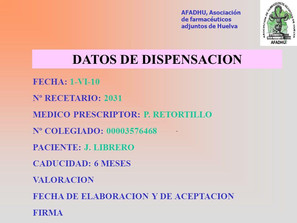 DATOS DE DISPENSACION FECHA: 1-VI-10 Nº RECETARIO: 2031