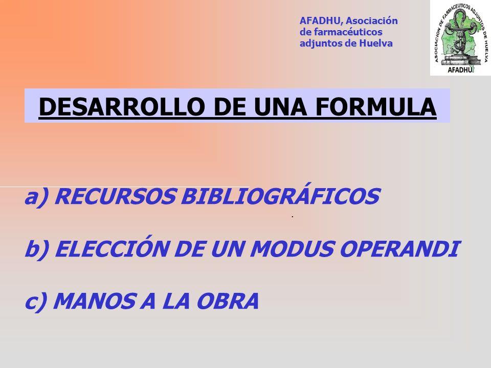 DESARROLLO DE UNA FORMULA