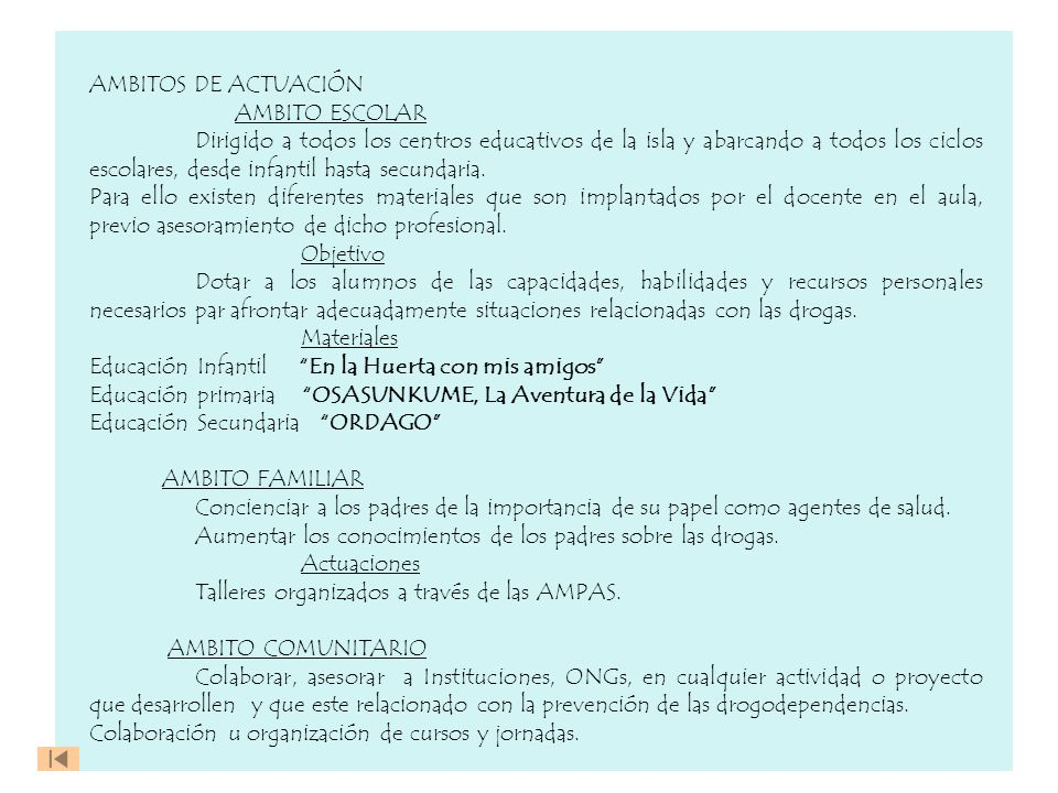 AMBITOS DE ACTUACIÓN AMBITO ESCOLAR.