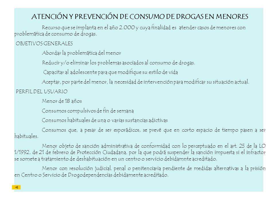 ATENCIÓN Y PREVENCIÓN DE CONSUMO DE DROGAS EN MENORES