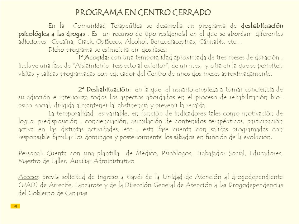 PROGRAMA EN CENTRO CERRADO