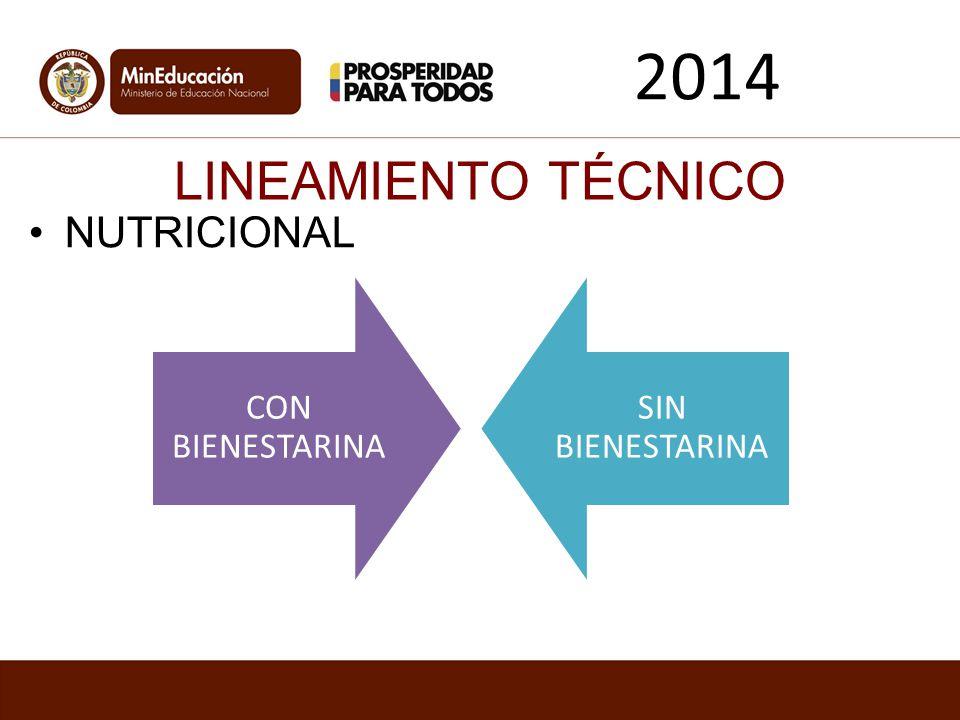2014 LINEAMIENTO TÉCNICO NUTRICIONAL CON BIENESTARINA SIN BIENESTARINA