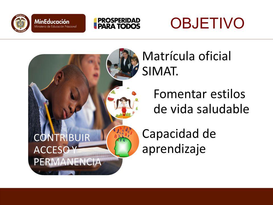 OBJETIVO Matrícula oficial SIMAT. Fomentar estilos de vida saludable