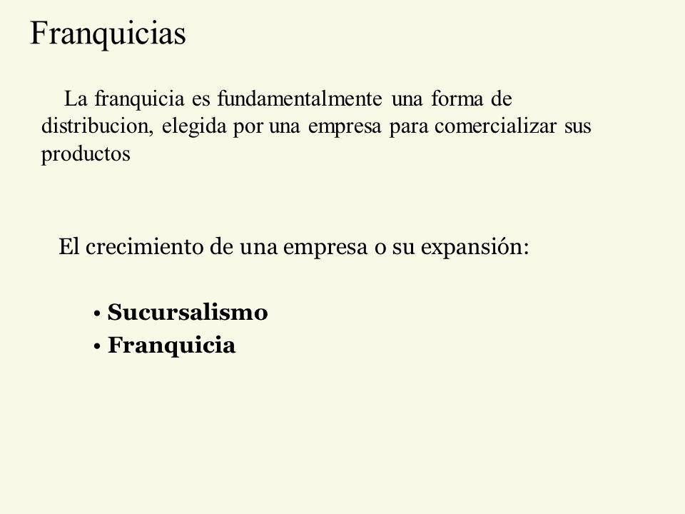 Franquicias La franquicia es fundamentalmente una forma de distribucion, elegida por una empresa para comercializar sus productos.