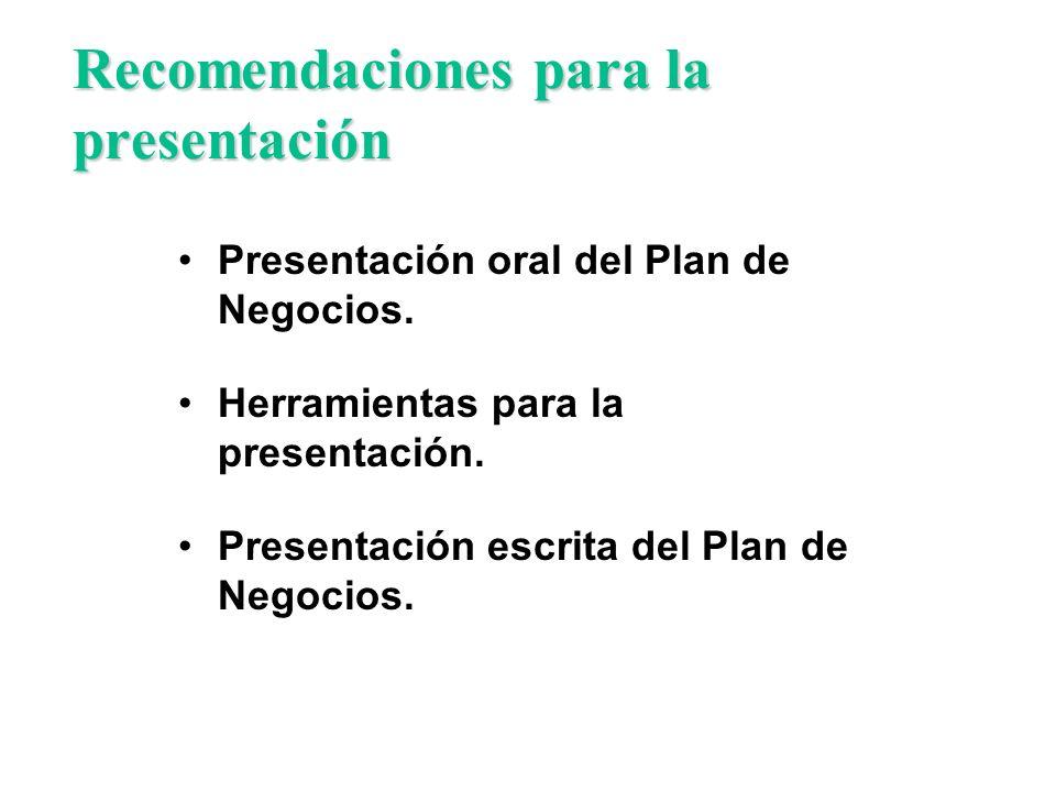 Recomendaciones para la presentación