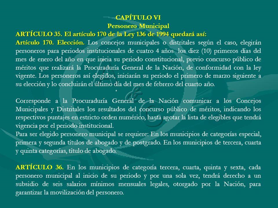 A C & CAPÍTULO VI Personero Municipal