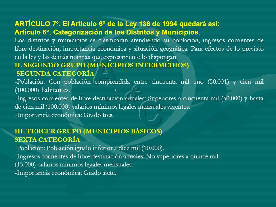 A C & ARTÍCULO 7°. El Artículo 6° de la Ley 136 de 1994 quedará así: