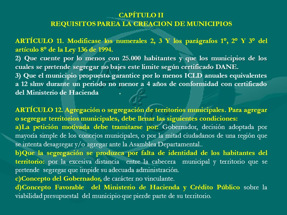 REQUISITOS PAREA LA CREACION DE MUNICIPIOS