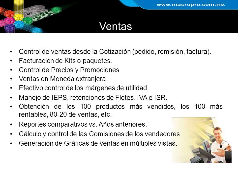 Ventas Control de ventas desde la Cotización (pedido, remisión, factura). Facturación de Kits o paquetes.