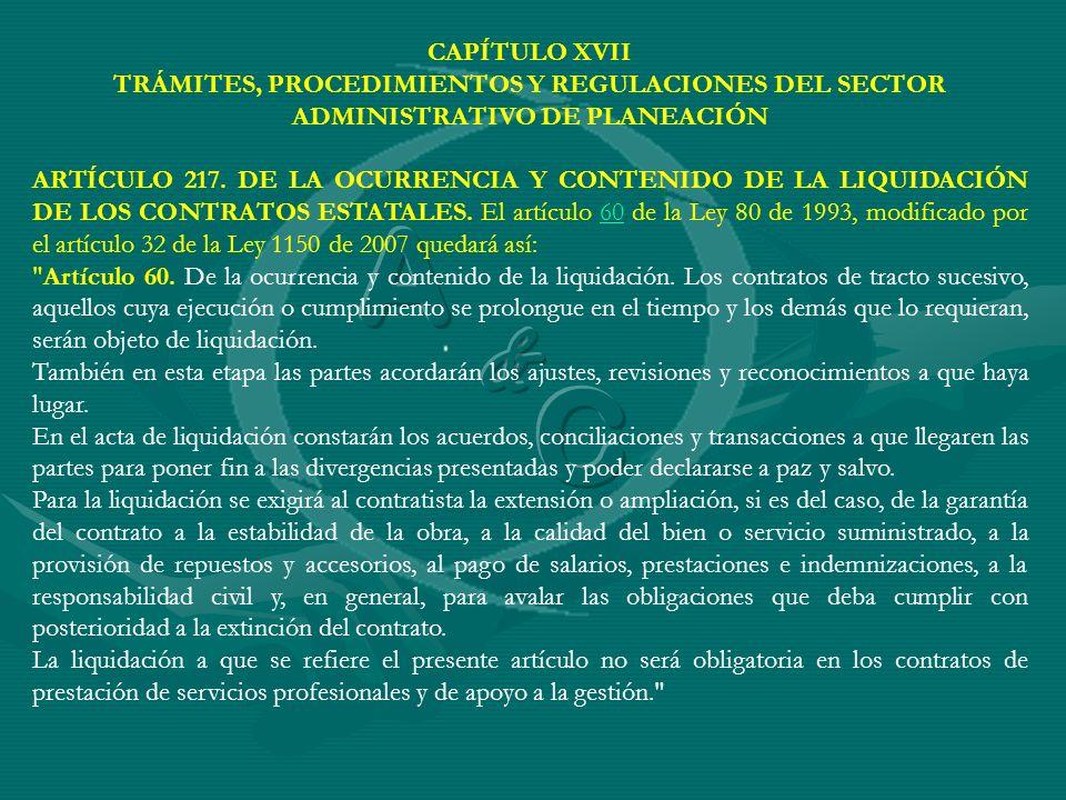 CAPÍTULO XVII TRÁMITES, PROCEDIMIENTOS Y REGULACIONES DEL SECTOR ADMINISTRATIVO DE PLANEACIÓN.