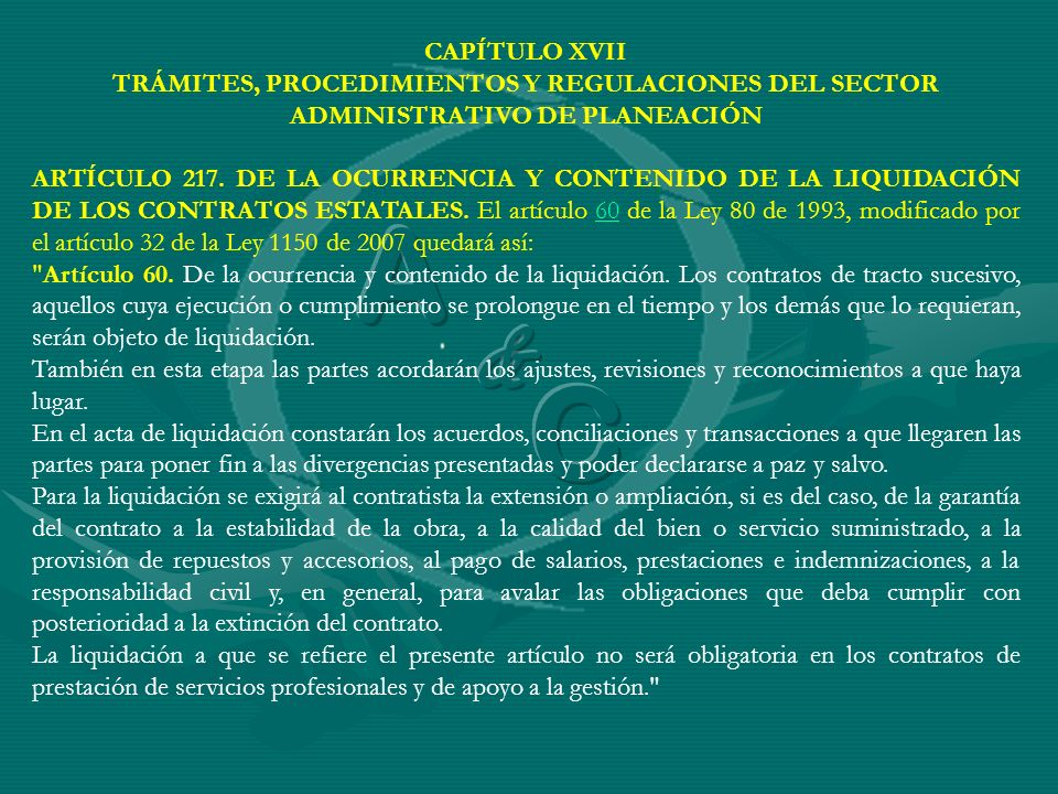 CAPÍTULO XVIITRÁMITES, PROCEDIMIENTOS Y REGULACIONES DEL SECTOR ADMINISTRATIVO DE PLANEACIÓN.