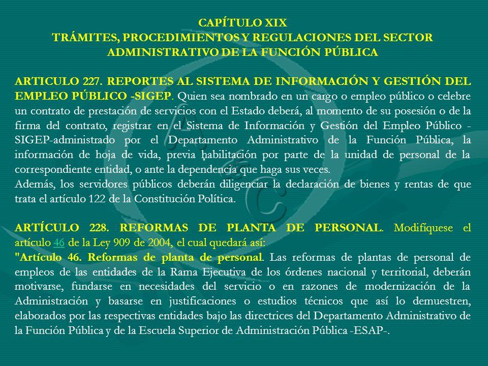 CAPÍTULO XIX TRÁMITES, PROCEDIMIENTOS Y REGULACIONES DEL SECTOR ADMINISTRATIVO DE LA FUNCIÓN PÚBLICA.