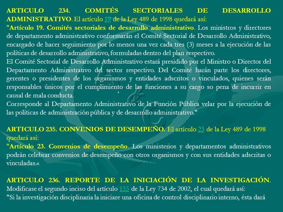 ARTICULO 234. COMITÉS SECTORIALES DE DESARROLLO ADMINISTRATIVO
