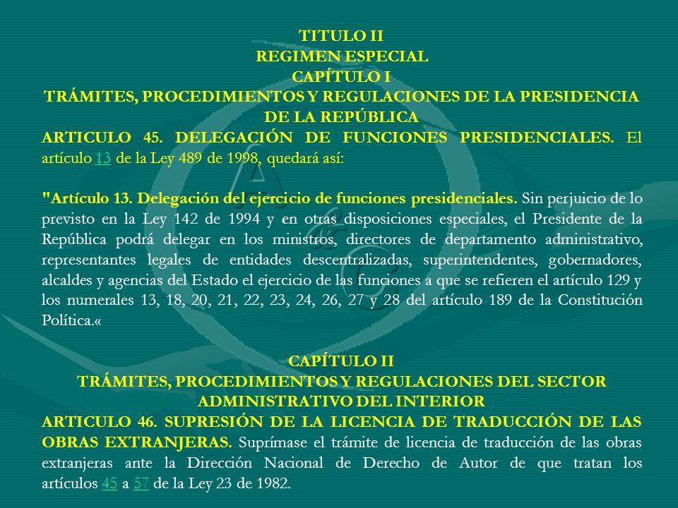 A C & TITULO II REGIMEN ESPECIAL CAPÍTULO I