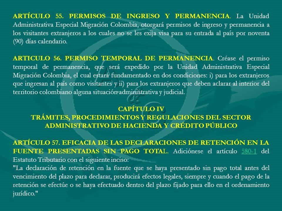 ARTÍCULO 55. PERMISOS DE INGRESO Y PERMANENCIA