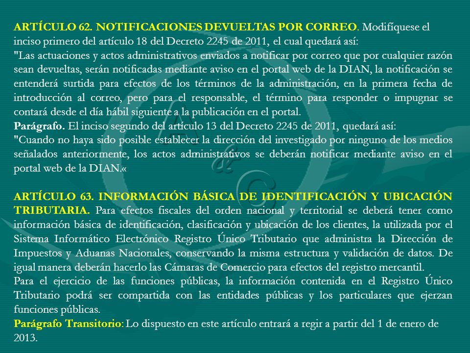 ARTÍCULO 62. NOTIFICACIONES DEVUELTAS POR CORREO