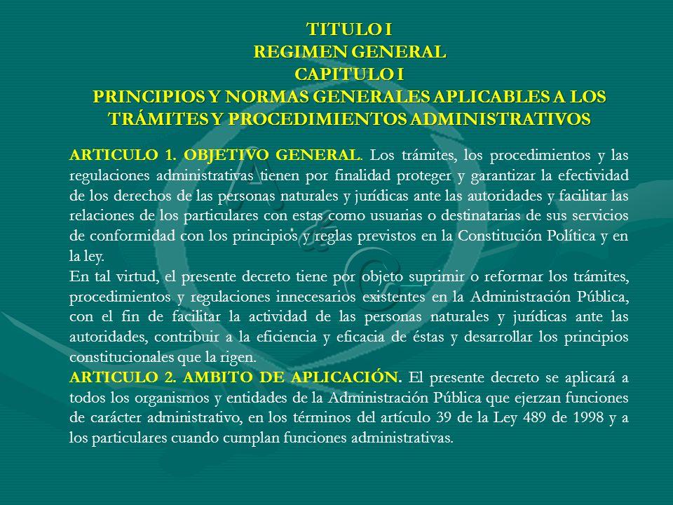 A C & TITULO I REGIMEN GENERAL CAPITULO I