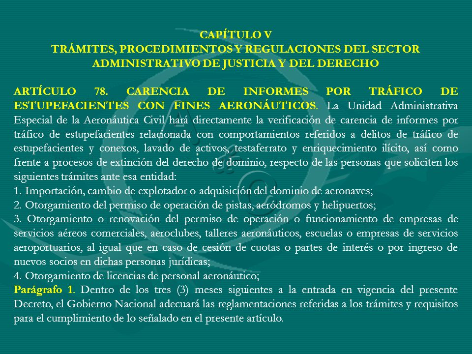 CAPÍTULO V TRÁMITES, PROCEDIMIENTOS Y REGULACIONES DEL SECTOR ADMINISTRATIVO DE JUSTICIA Y DEL DERECHO.
