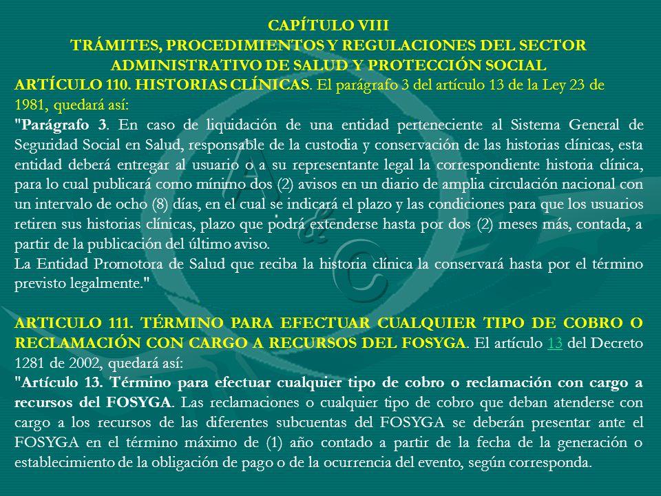 CAPÍTULO VIII TRÁMITES, PROCEDIMIENTOS Y REGULACIONES DEL SECTOR ADMINISTRATIVO DE SALUD Y PROTECCIÓN SOCIAL.