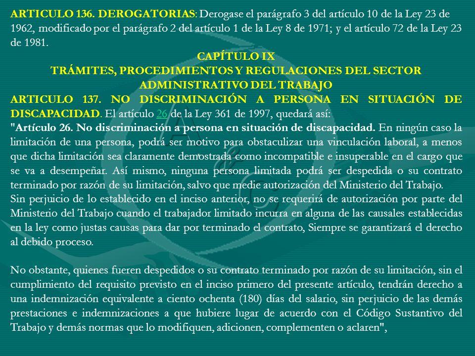 ARTICULO 136. DEROGATORIAS: Derogase el parágrafo 3 del artículo 10 de la Ley 23 de 1962, modificado por el parágrafo 2 del artículo 1 de la Ley 8 de 1971; y el artículo 72 de la Ley 23 de 1981.