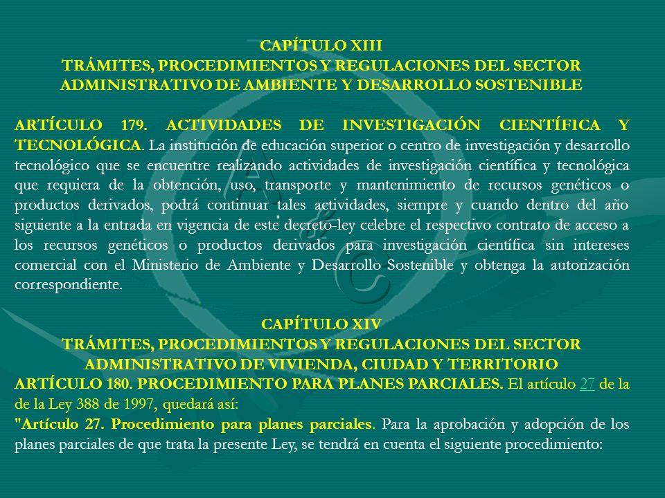 CAPÍTULO XIII TRÁMITES, PROCEDIMIENTOS Y REGULACIONES DEL SECTOR ADMINISTRATIVO DE AMBIENTE Y DESARROLLO SOSTENIBLE.