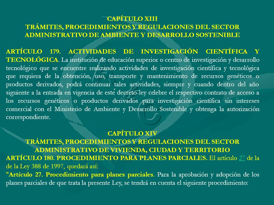 CAPÍTULO XIIITRÁMITES, PROCEDIMIENTOS Y REGULACIONES DEL SECTOR ADMINISTRATIVO DE AMBIENTE Y DESARROLLO SOSTENIBLE.