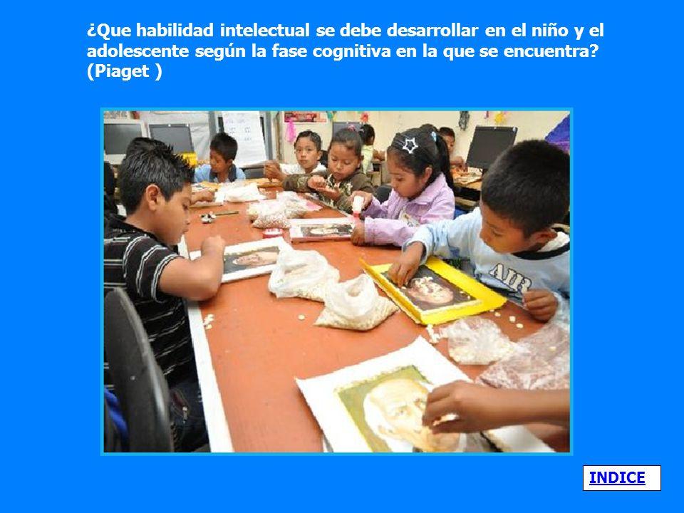 ¿Que habilidad intelectual se debe desarrollar en el niño y el adolescente según la fase cognitiva en la que se encuentra