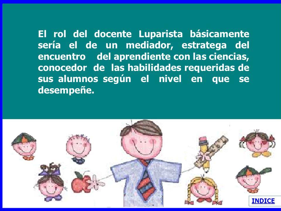 El rol del docente Luparista básicamente sería el de un mediador, estratega del encuentro del aprendiente con las ciencias, conocedor de las habilidades requeridas de sus alumnos según el nivel en que se desempeñe.
