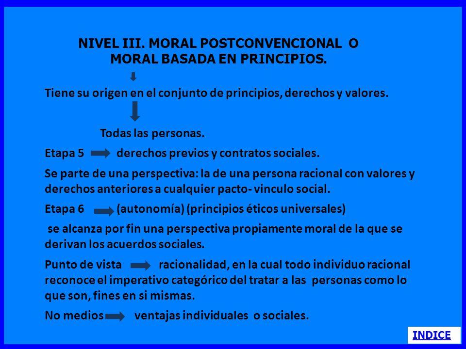 NIVEL III. MORAL POSTCONVENCIONAL O MORAL BASADA EN PRINCIPIOS.