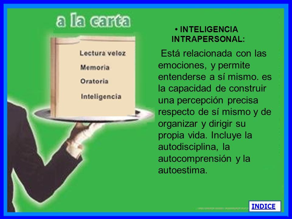 • INTELIGENCIA INTRAPERSONAL: