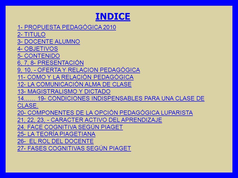 INDICE 1- PROPUESTA PEDAGÓGICA 2010 2- TITULO 3- DOCENTE ALUMNO