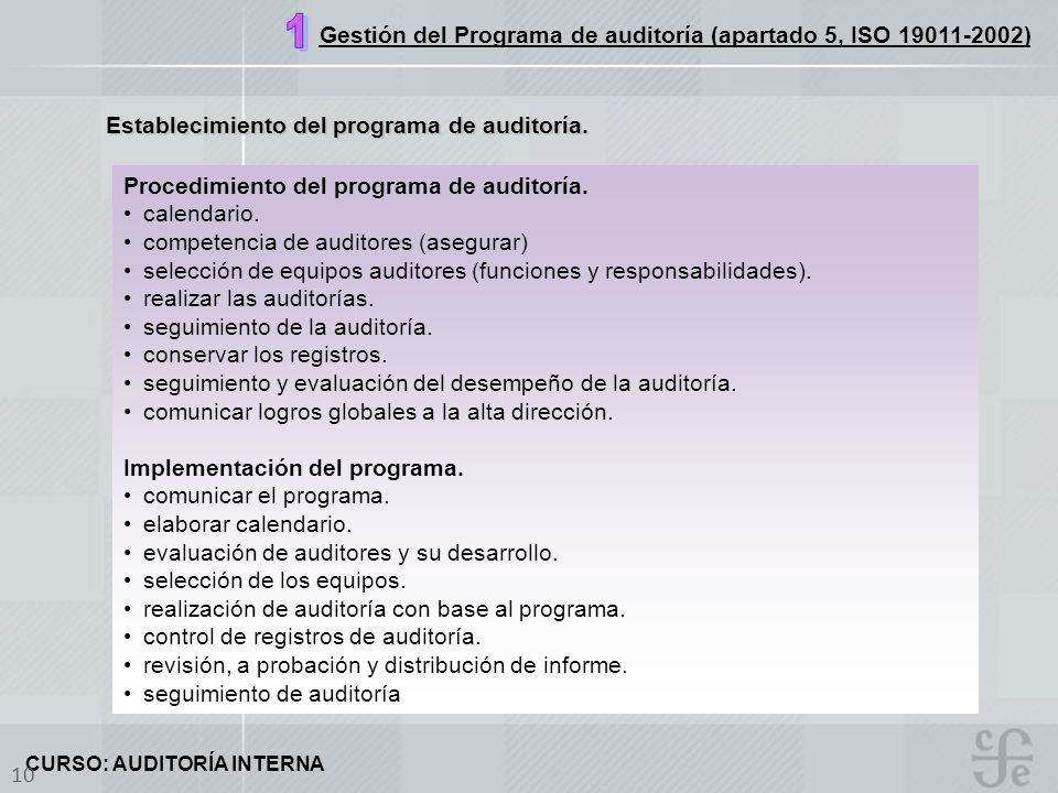 Gestión del Programa de auditoría (apartado 5, ISO 19011-2002)