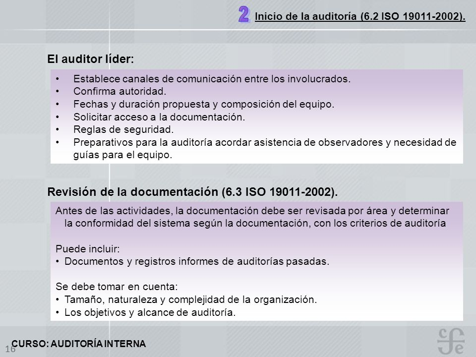 2 El auditor líder: Revisión de la documentación (6.3 ISO 19011-2002).