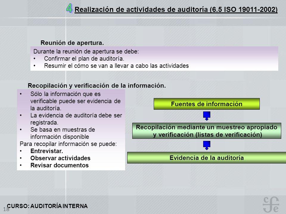 4 Realización de actividades de auditoría (6.5 ISO 19011-2002)
