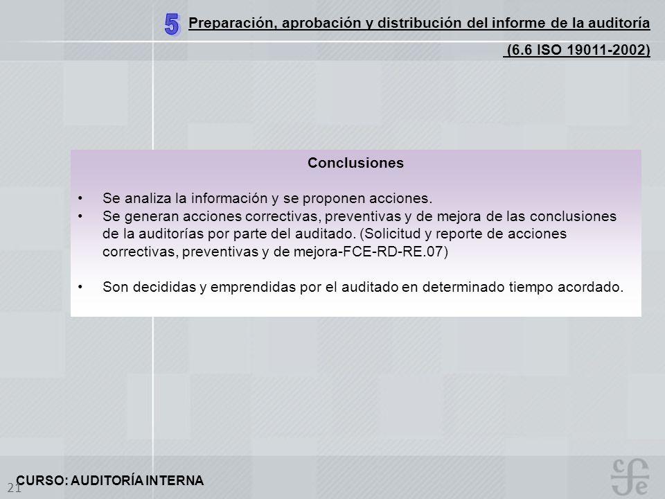 5 Preparación, aprobación y distribución del informe de la auditoría