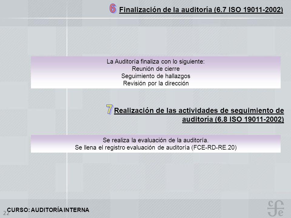 Finalización de la auditoría (6.7 ISO 19011-2002)