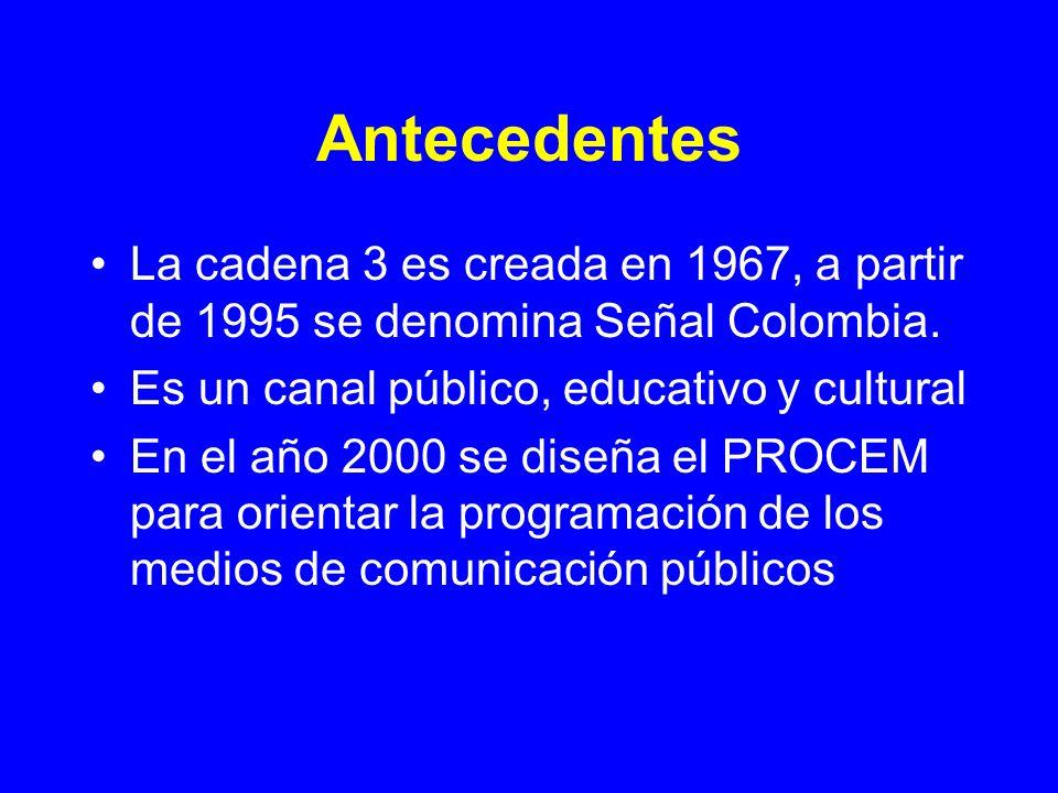 AntecedentesLa cadena 3 es creada en 1967, a partir de 1995 se denomina Señal Colombia. Es un canal público, educativo y cultural.
