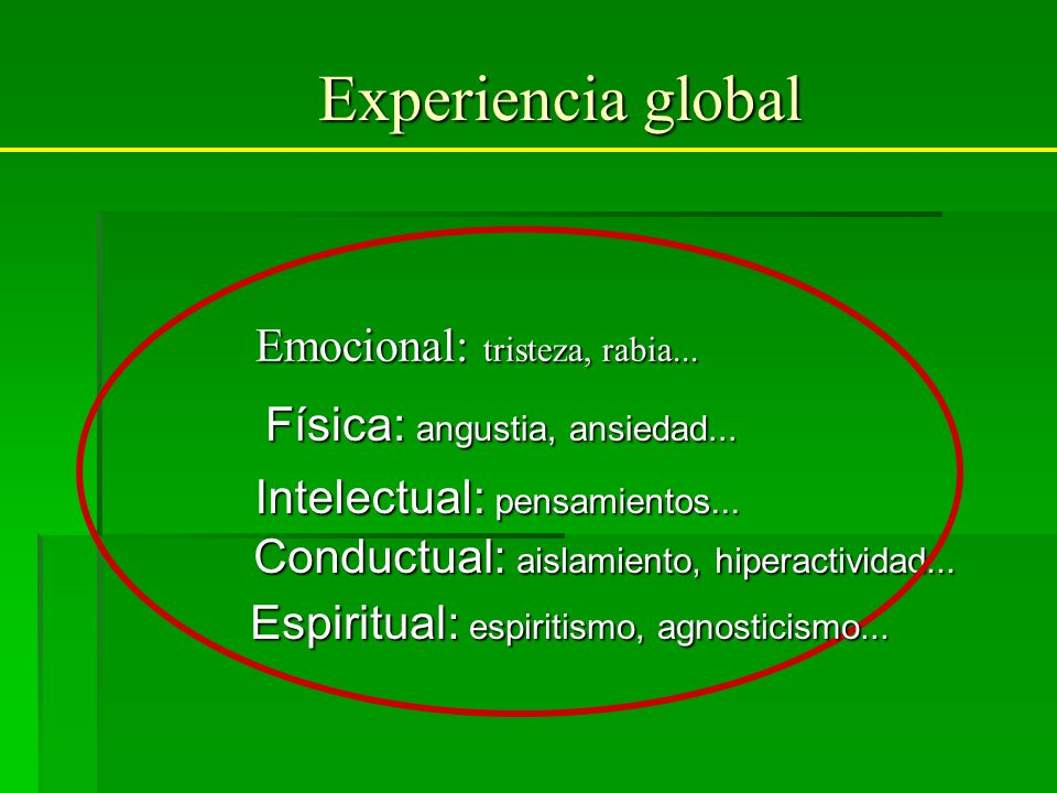 Experiencia global Emocional: tristeza, rabia...