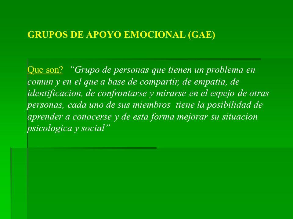 GRUPOS DE APOYO EMOCIONAL (GAE)