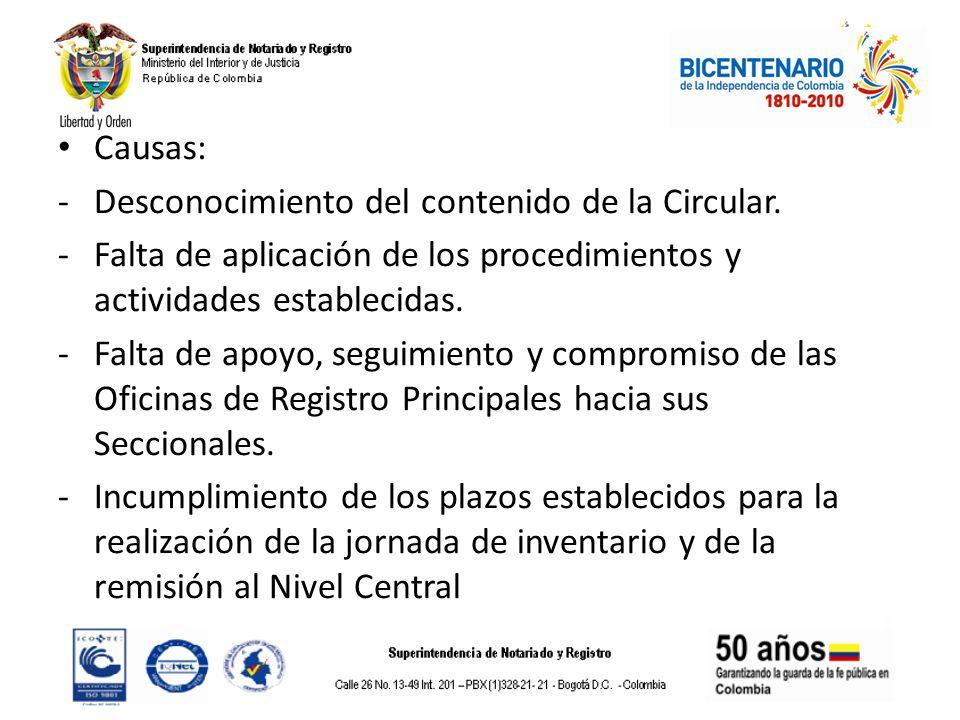 Causas: Desconocimiento del contenido de la Circular. Falta de aplicación de los procedimientos y actividades establecidas.