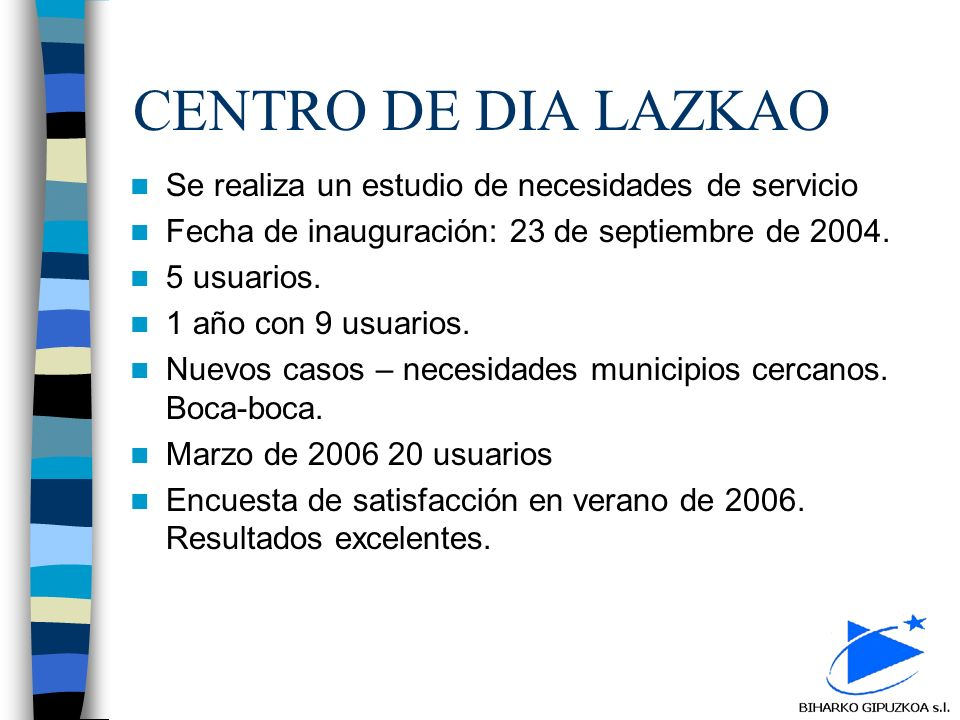 CENTRO DE DIA LAZKAO Se realiza un estudio de necesidades de servicio